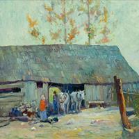 """Carl Graf, """"Evening Chores,"""" c. 1920"""
