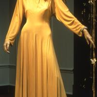 Gown by Russian designer Valentina (Schlee) (1904 – 1989, career in New York) 1930s bias-cut long dress of golden-yellow jersey. Custom-made for actress Gloria Swanson