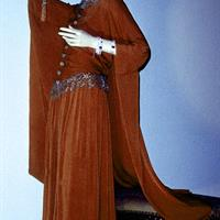 Gown by French designer Paul Poiret (1879-1944, career in Paris), 1920s waistline dress in burnt orange silk crepe with flowing attached cape