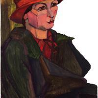 "Clara Deike, Self Portrait, c. Mid-1920s, Oil on canvas, 23"" x 17 1/2"""