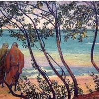 """Grace Kelly, """"At The Shore, Lake Erie (Grace Kelly and Clara Deike),"""" 1911"""