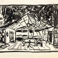 Boris Aronson - Hotel - Store Scene: set design for Sadie Thompson (Alvin Theatre, New York), 1944