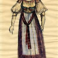 Rouben Arutunian - Miriam costume design for The Scarf (New York City Opera), 1959