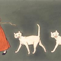 """Cecil Aldin - Smiling Cats from Portfolio, 1898, watercolor, 21.5""""x31.5"""""""