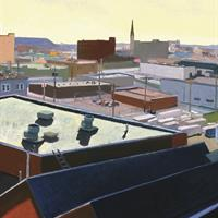Jean Koeller -  Untitled (angled roof, steeple, pale yellow sky)
