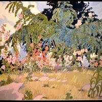 Clara Deike - Willows and Hollyhocks, 1916