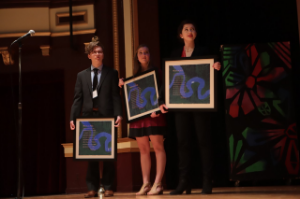 2018 Poetry Out Loud State Finals competitors Magnus Saebo, third place winner; Anna Kahle, 2018  second place winner; and Caroline Delaney, 2018 State Champion at the State Finals competition.