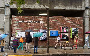 A Thousand Words, a public art installation created by the Athens Photographic Project in partnership with the City of Athens, is located at the Athens City Parking Garage.