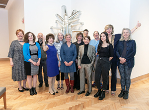Ohio Arts Council Executive Director Donna S. Collins, OAC Riffe Gallery Director Mary Gray, curators Ann Bremner and Matt Distel, and the 10 artists featured in Women to Watch Ohio - 2018