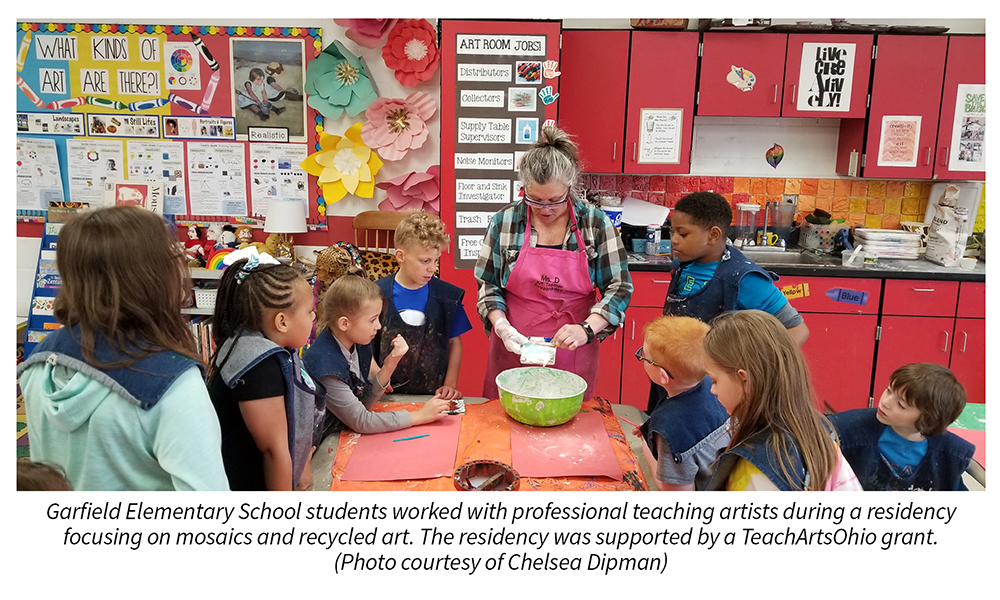 Garfield Elementary School students worked with professional teaching artists during a residency focusing on mosaics and recycled art. The residency was supported by a TeachArtsOhio grant. Photo courtesy of Chelsea Dipman.