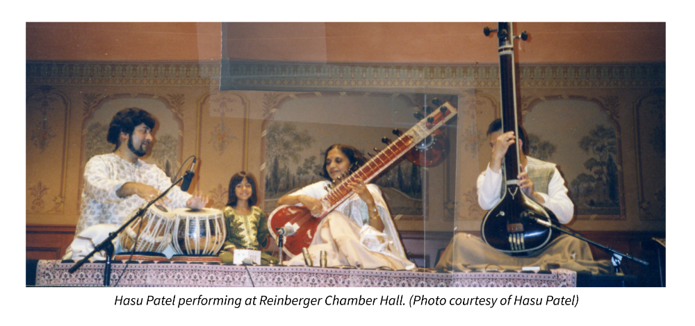 Hasu Patel performing at Reinberger Chamber Hall. Photo courtesy of Hasu Patel