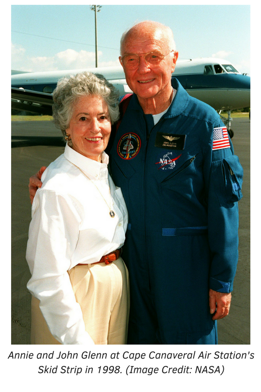 Annie and John Glenn at Cape Canaveral Air Station's Skid Strip in 1998. Photo courtesy of NASA.
