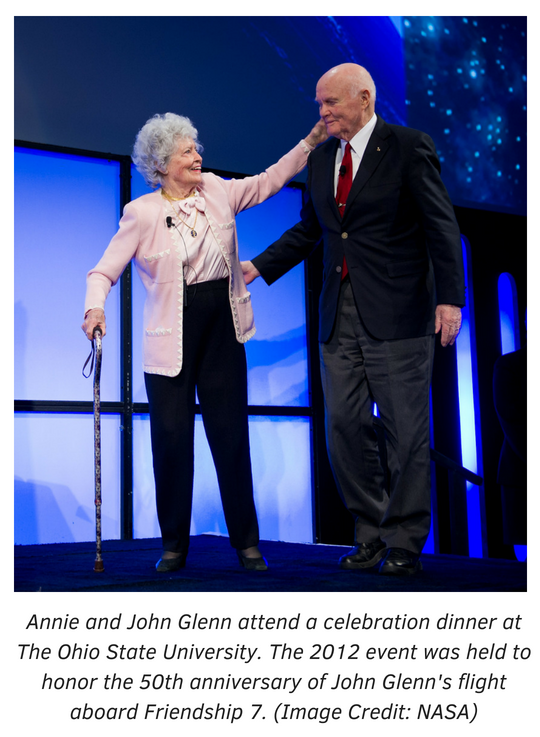 Annie and John Glenn attend a celebration dinner at The Ohio State University. The 2012 event was held to honor the 50th anniversary of John Glenn's flight aboard Friendship 7. Photo courtesy of NASA.