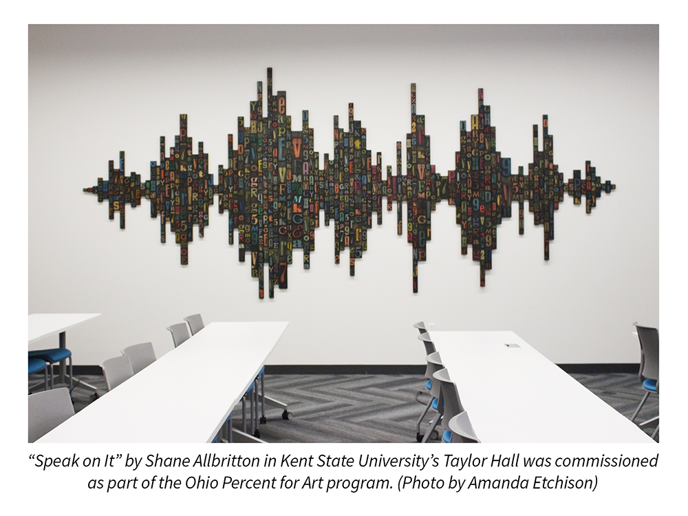 """Speak on It"" by Shane Allbritton in Kent State University's Taylor Hall was commissioned as part of the Ohio Percent for Art program. Photo by Amanda Etchison."