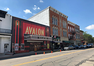 A photo of the temporary facade of the Avalon Theatre in uptown Marysville