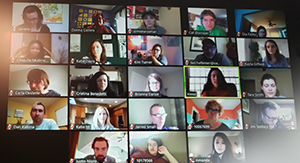 A screenshot of an OAC Zoom web meeting. Image shows Ohio Arts Council staff members in small rectangles on one screen.