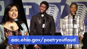 Collage of three photos from the 2020 Poetry Out Loud Ohio State Finals