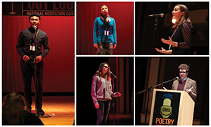 A collage of images from past Poetry Out Loud competitions. Photos show students reciting poetry on stage and Ohio Poet Laureate Dave Lucas speaking at a podium. Photos by Terry Gilliam.