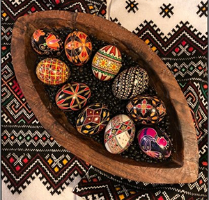 A basket of pysanky eggs by Carol Snyder