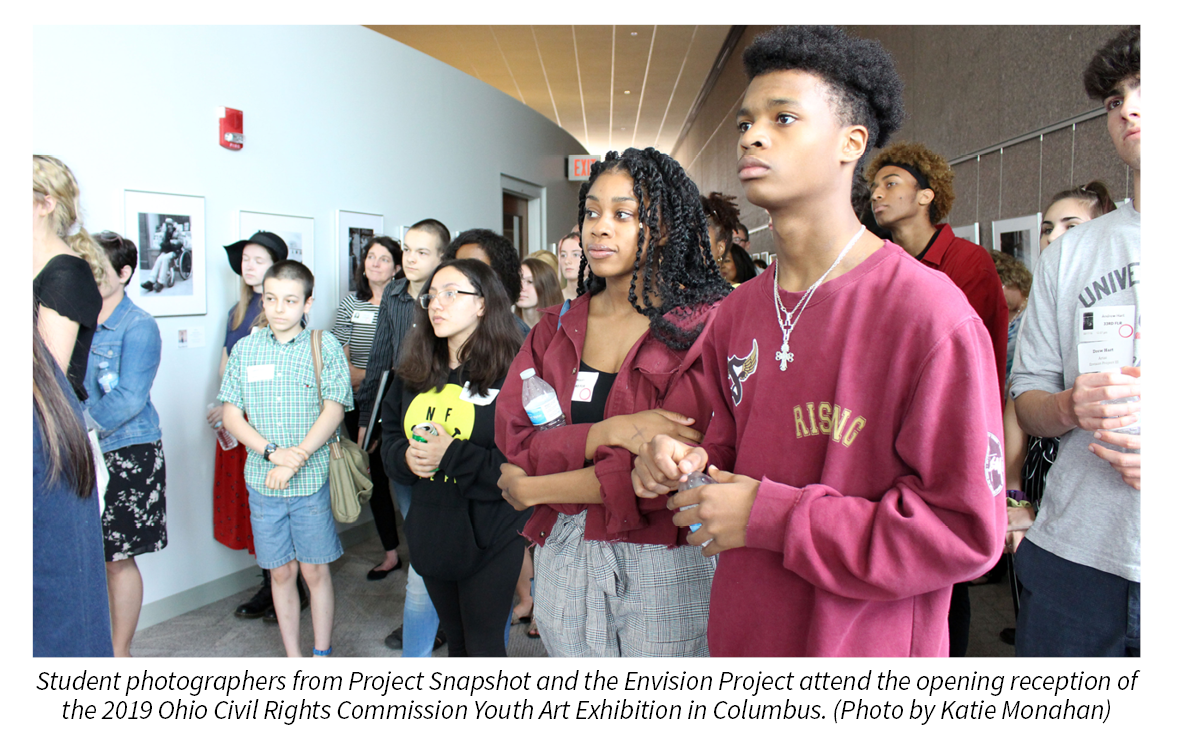 Student photographers from Project Snapshot and the Envision Project attend the opening reception of the  2019 Ohio Civil Rights Commission Youth Art Exhibition in Columbus. Photo by Katie Monahan