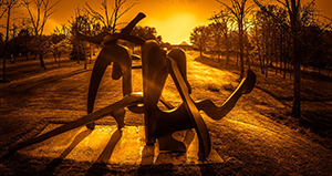 An outdoor metal sculpture at Pyramid Hill Sculpture Park
