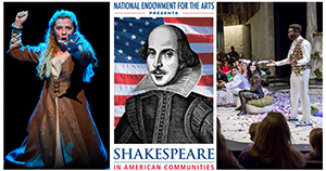 Two production photos of Shakespeare plays performed by Cincinnati Shakespeare Company and Great Lakes Theater and the National Endowment for the Arts Shakespeare in American Communities logo