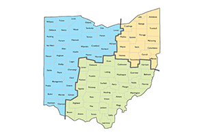 Map of Ohio divided into three color-coded regions