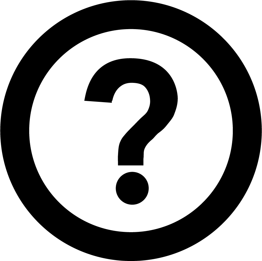 Accessibility symbol of question mark inside a circle